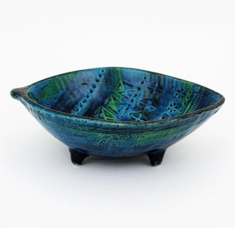 Aldo Londi for Bitossi Rimini Blu Leaf Shaped Glazed Ceramic Bowl / Ashtray For Sale 7