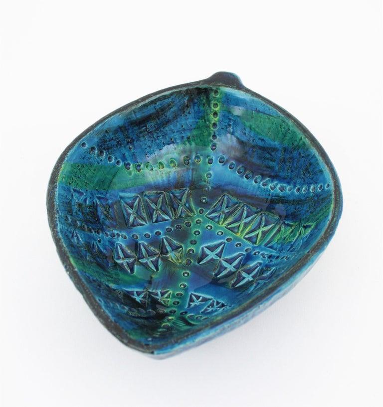 Aldo Londi for Bitossi Rimini Blu Leaf Shaped Glazed Ceramic Bowl / Ashtray For Sale 8