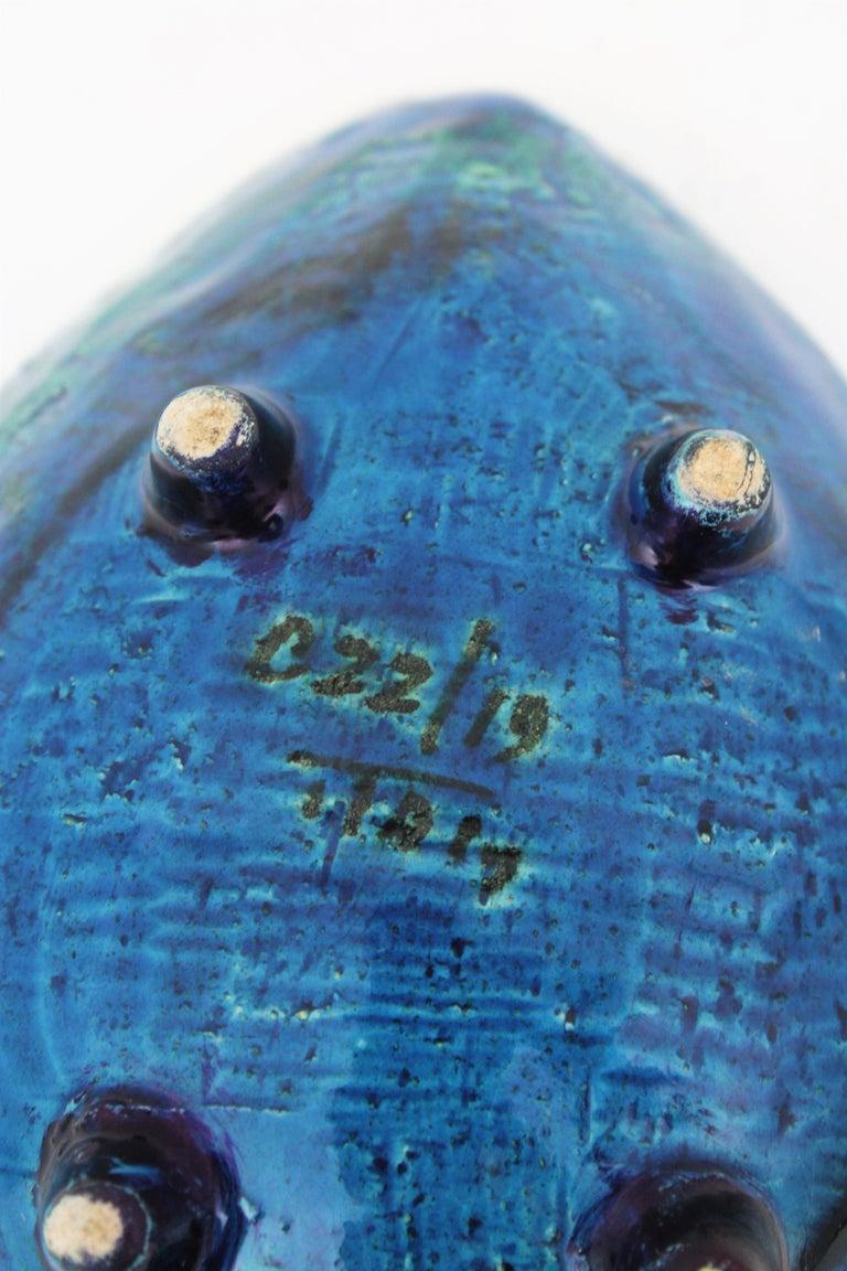 Aldo Londi for Bitossi Rimini Blu Leaf Shaped Glazed Ceramic Bowl / Ashtray For Sale 10