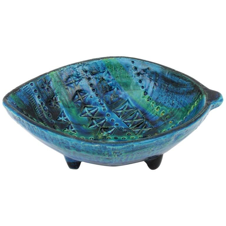 Aldo Londi for Bitossi Rimini Blu Leaf Shaped Glazed Ceramic Bowl / Ashtray For Sale 11