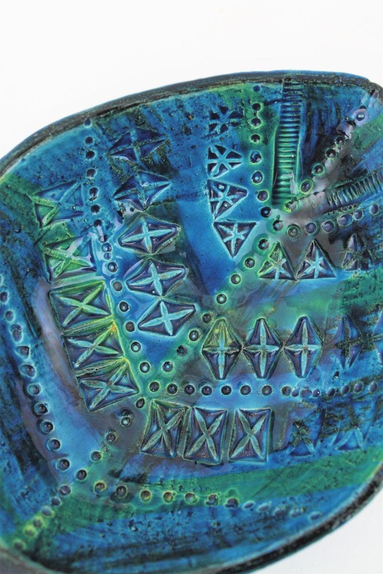 20th Century Aldo Londi for Bitossi Rimini Blu Leaf Shaped Glazed Ceramic Bowl / Ashtray For Sale