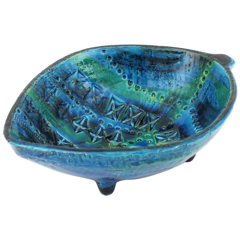 Aldo Londi for Bitossi Rimini Blu Leaf Shaped Glazed Ceramic Bowl / Ashtray For Sale
