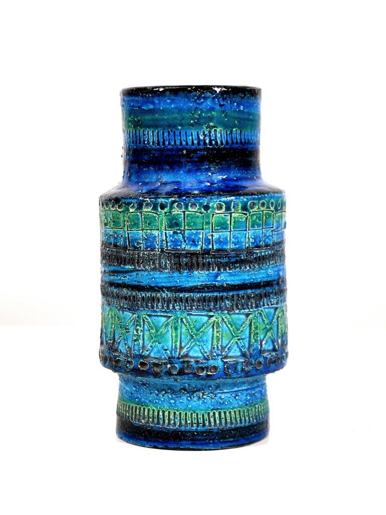 Mid-Century Modern Aldo Londi for Bitossi Rimini Blu Vase