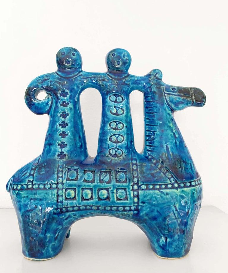 Aldo Londi for Bitossi Rimini Blue Figurine, Horse, Rider, Cavallerizzo Pottery For Sale 3