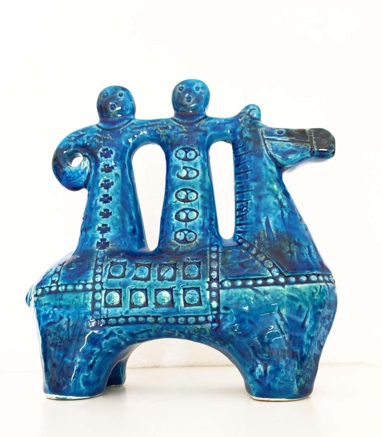 Aldo Londi for Bitossi Rimini Blue Figurine, Horse, Rider, Cavallerizzo Pottery For Sale 5
