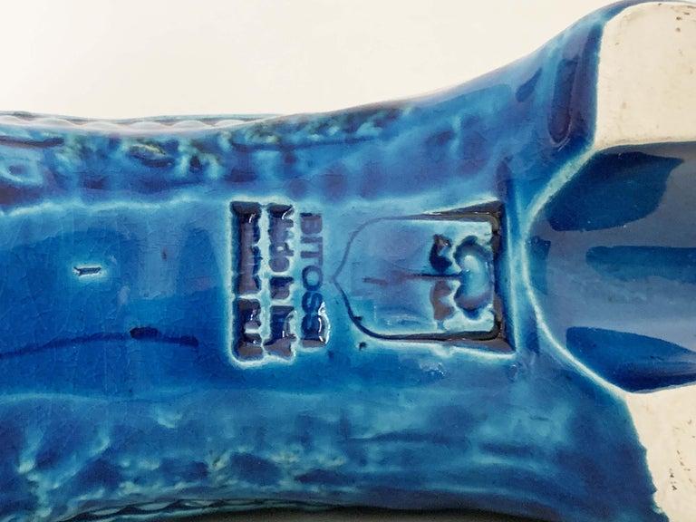 Aldo Londi for Bitossi Rimini Blue Figurine, Horse, Rider, Cavallerizzo Pottery In Good Condition For Sale In Roma, IT