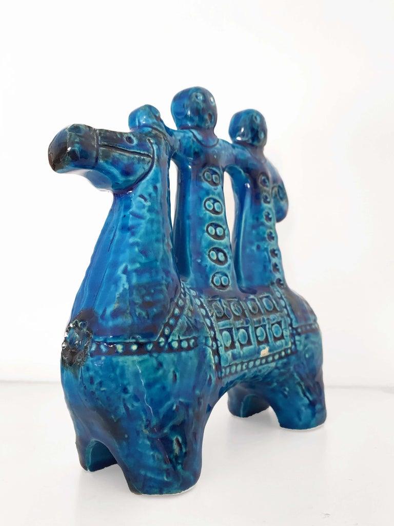 20th Century Aldo Londi for Bitossi Rimini Blue Figurine, Horse, Rider, Cavallerizzo Pottery For Sale