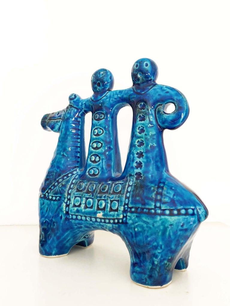Aldo Londi for Bitossi Rimini Blue Figurine, Horse, Rider, Cavallerizzo Pottery For Sale 2