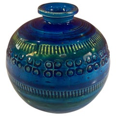 Aldo Londi for Bitossi Round Vase in Rimini Blue