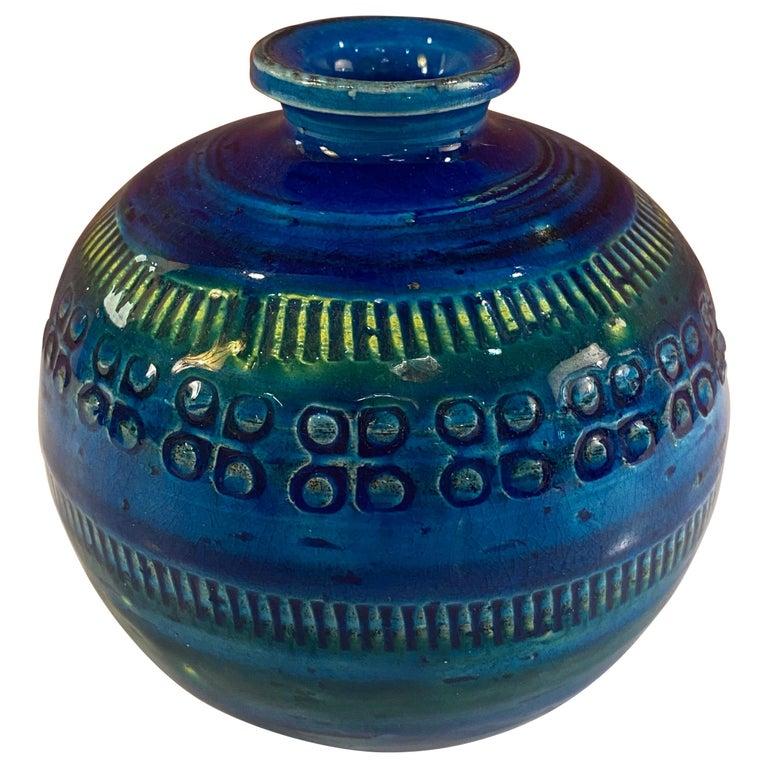 Aldo Londi for Bitossi Round Vase in Rimini Blue For Sale