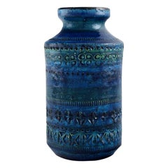 Aldo Londi for Bitossi, Vase in Rimini-Blue Glazed Ceramics, 1960s