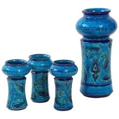 Aldo Londi for Bitossi Vase with Matching Candleholders