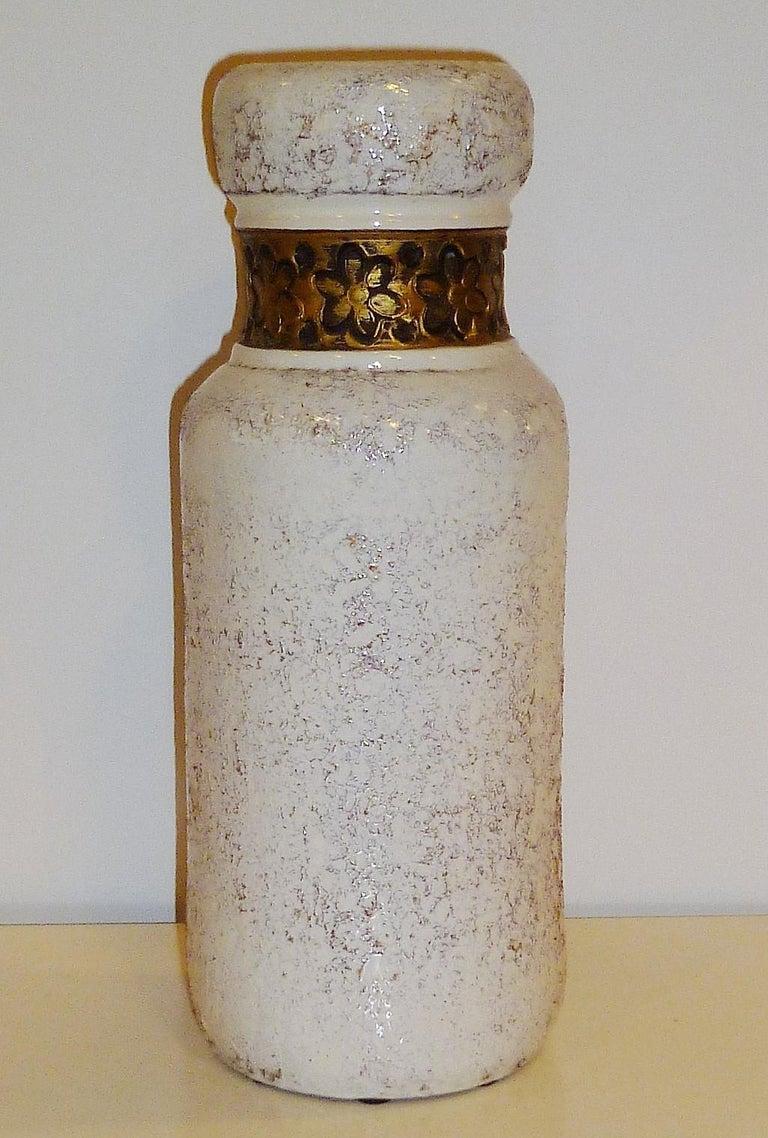 Italian Aldo Londi for Rosenthal Netter Bitossi Modern Textured Pottery Vase Italy 1960s For Sale