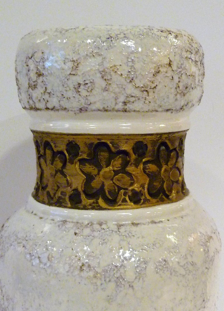 Glazed Aldo Londi for Rosenthal Netter Bitossi Modern Textured Pottery Vase Italy 1960s For Sale