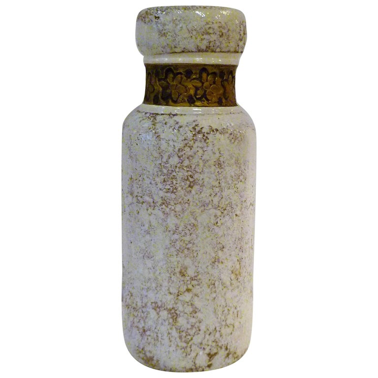 Aldo Londi for Rosenthal Netter Bitossi Modern Textured Pottery Vase Italy 1960s For Sale