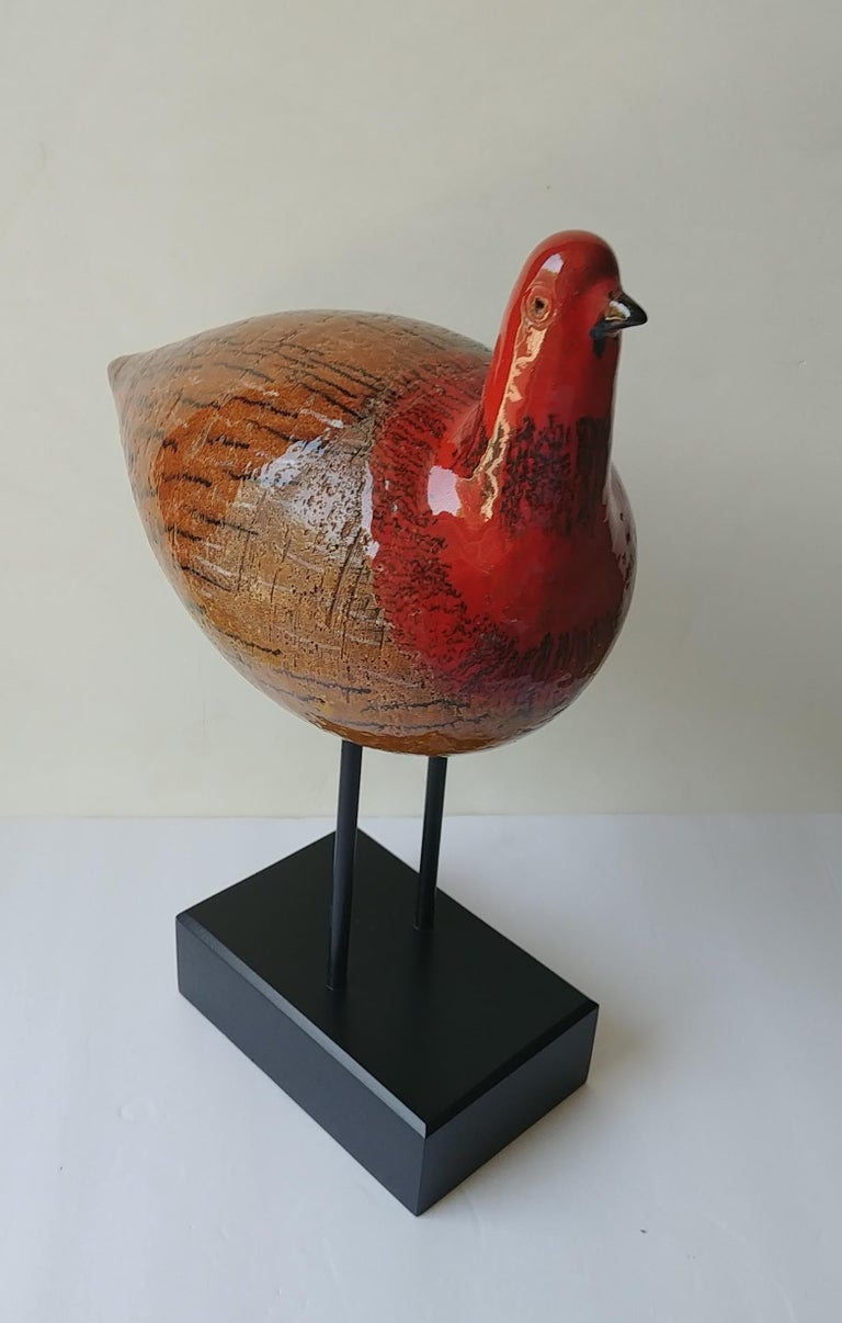 Aldo Londi, Large  Ceramic Bird, Sculpture, by Bitossi In Excellent Condition For Sale In Los Angeles, CA
