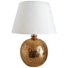 Aldo Londi Organic Bitossi Table Lamp in Metallic Gold Ceramic, 1960s, Italy
