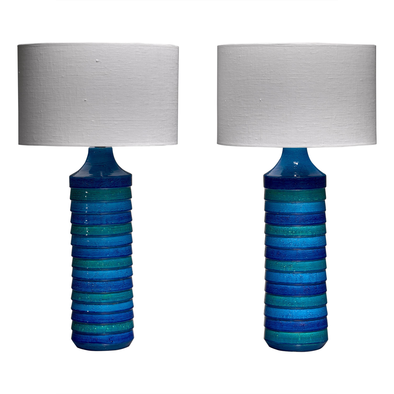 Aldo Londi Pair of Large Ceramic Table Lamps for Bitossi, Italy, 1960s