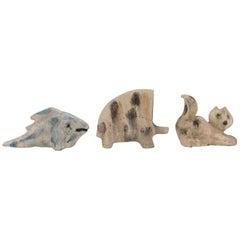 Aldo Londi Set of 3 Bitossi Midcentury Ceramic Scavo Animals, 1960s