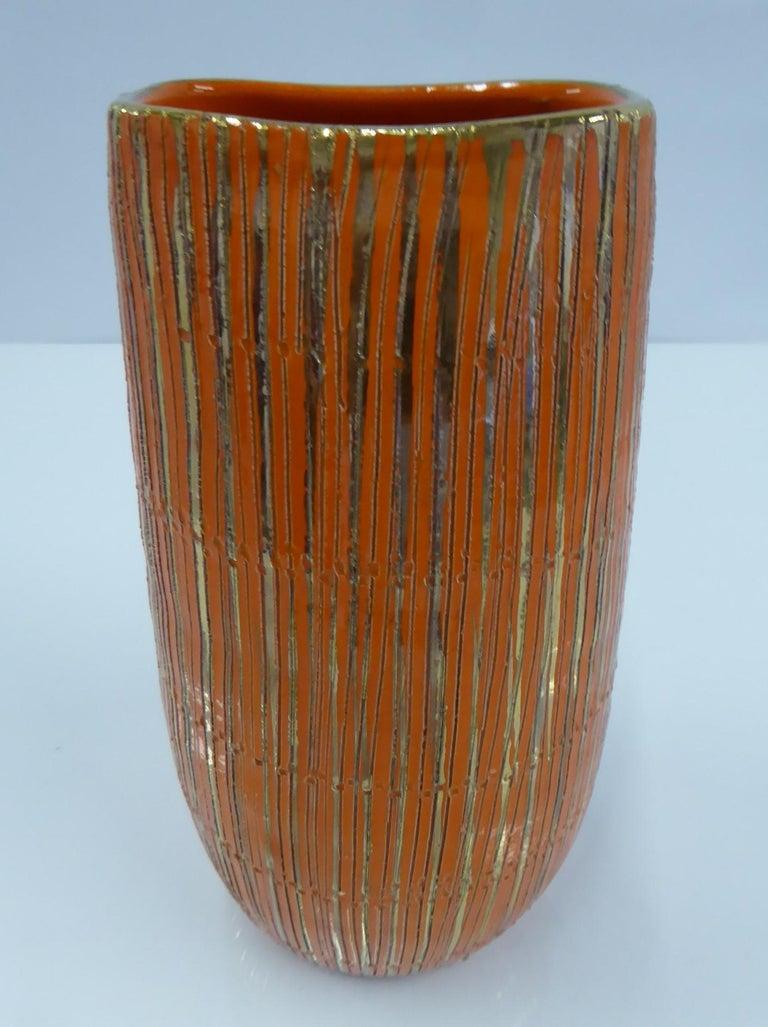 Italian Aldo Londi Seta Series for Bitossi Modern Sgraffito Ceramic Vase, Italy, 1950s For Sale