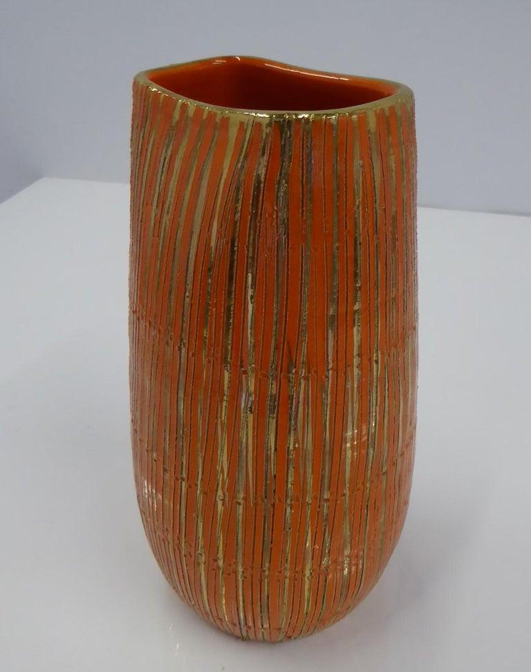 Aldo Londi Seta Series for Bitossi Modern Sgraffito Ceramic Vase, Italy, 1950s For Sale 2