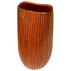 Aldo Londi Seta Series for Bitossi Modern Sgraffito Ceramic Vase, Italy, 1950s