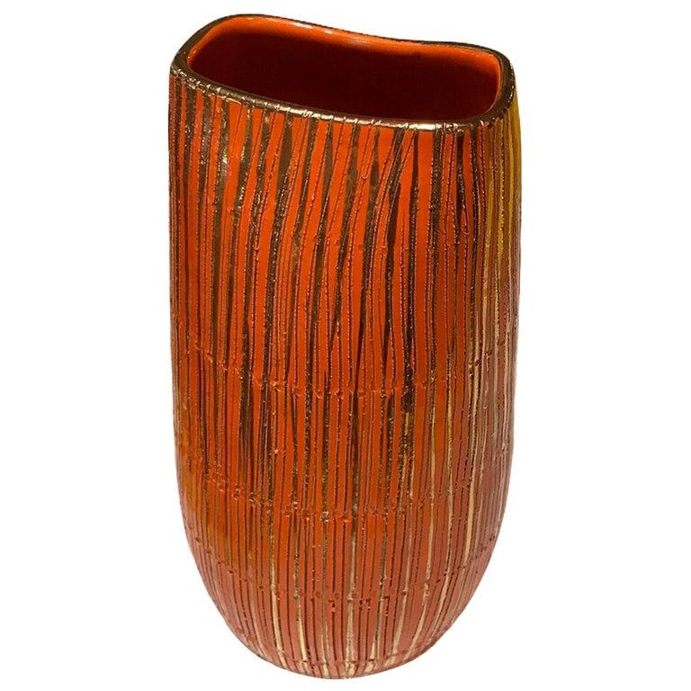 Aldo Londi Seta Series for Bitossi Modern Sgraffito Ceramic Vase, Italy, 1950s For Sale