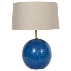 """Aldo Londo for Bitossi Persian Blue """"Ball"""" Table Lamp, circa 1950s"""
