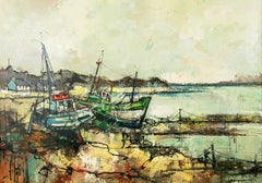 Impressionist Fishing Boat in a Harbor Scene Seascape by A.Luongo 1940