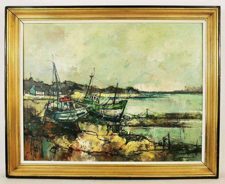 Seascape by A.Luongo - Beige Landscape Painting by Aldo Luongo