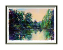 Aldo Luongo Color Serigraph Signed Large Signed Monet Artwork Original Landscape