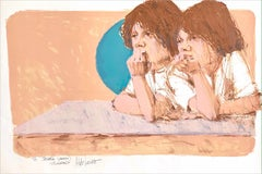 BROTHERS Signed Lithograph, Two Young Boys, Shaggy Haircuts, Peach Turquoise