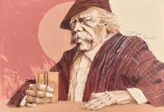 THE HAWK Signed Lithograph, Portrait Old Man w Long-hair, Mustache, Blush tones