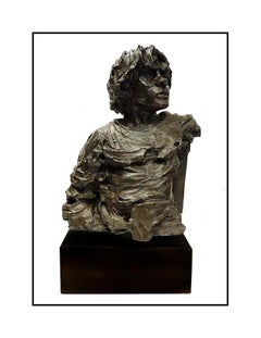 Aldo Luongo The Hawk Self Portrait Original Bronze Sculpture Large Signed Art
