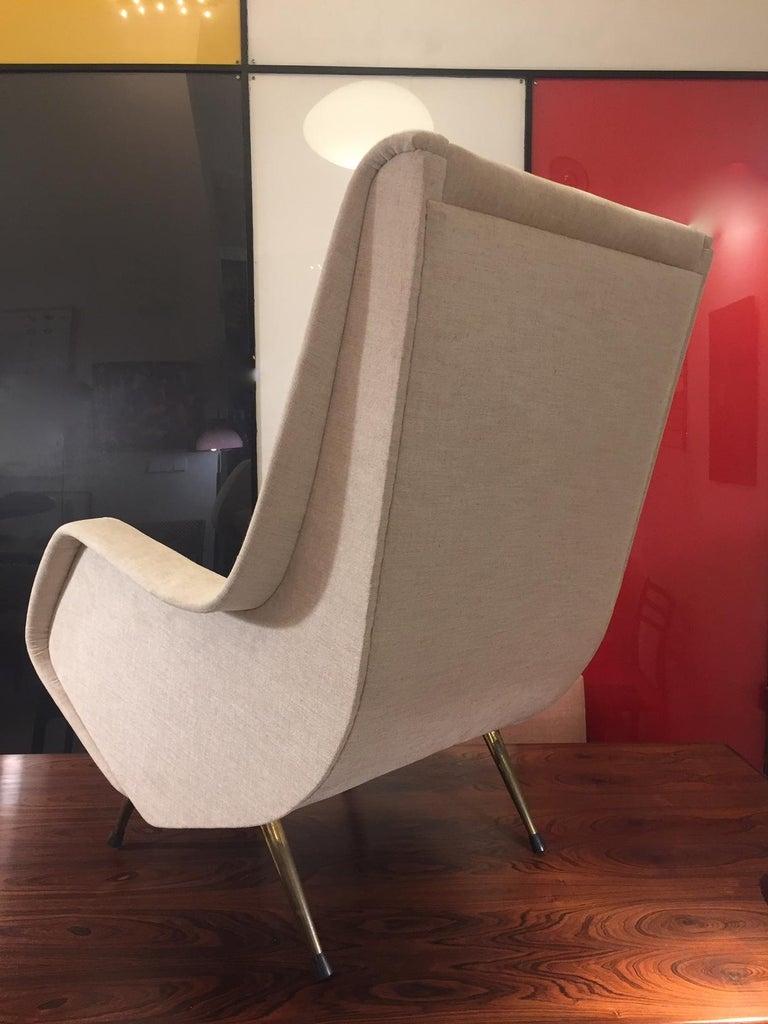 Aldo Morbelli Mid-Century Modern Pair of Light Beige Armchairs For Sale 4