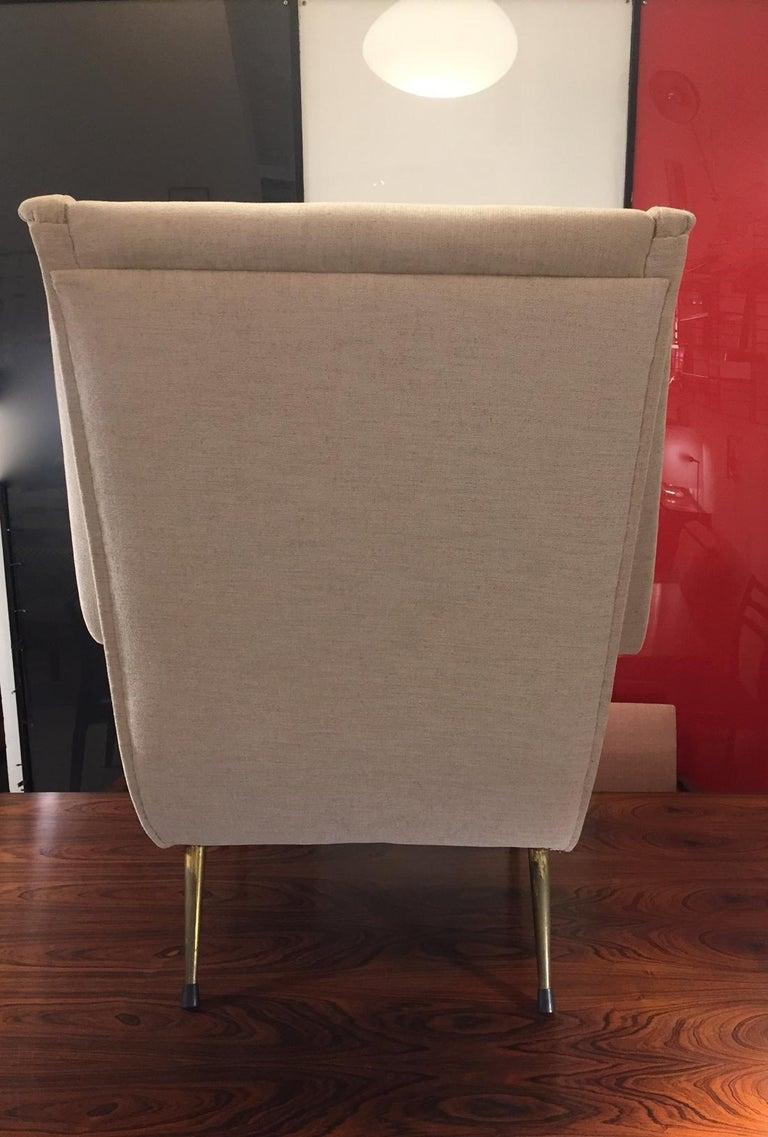 Aldo Morbelli Mid-Century Modern Pair of Light Beige Armchairs For Sale 6
