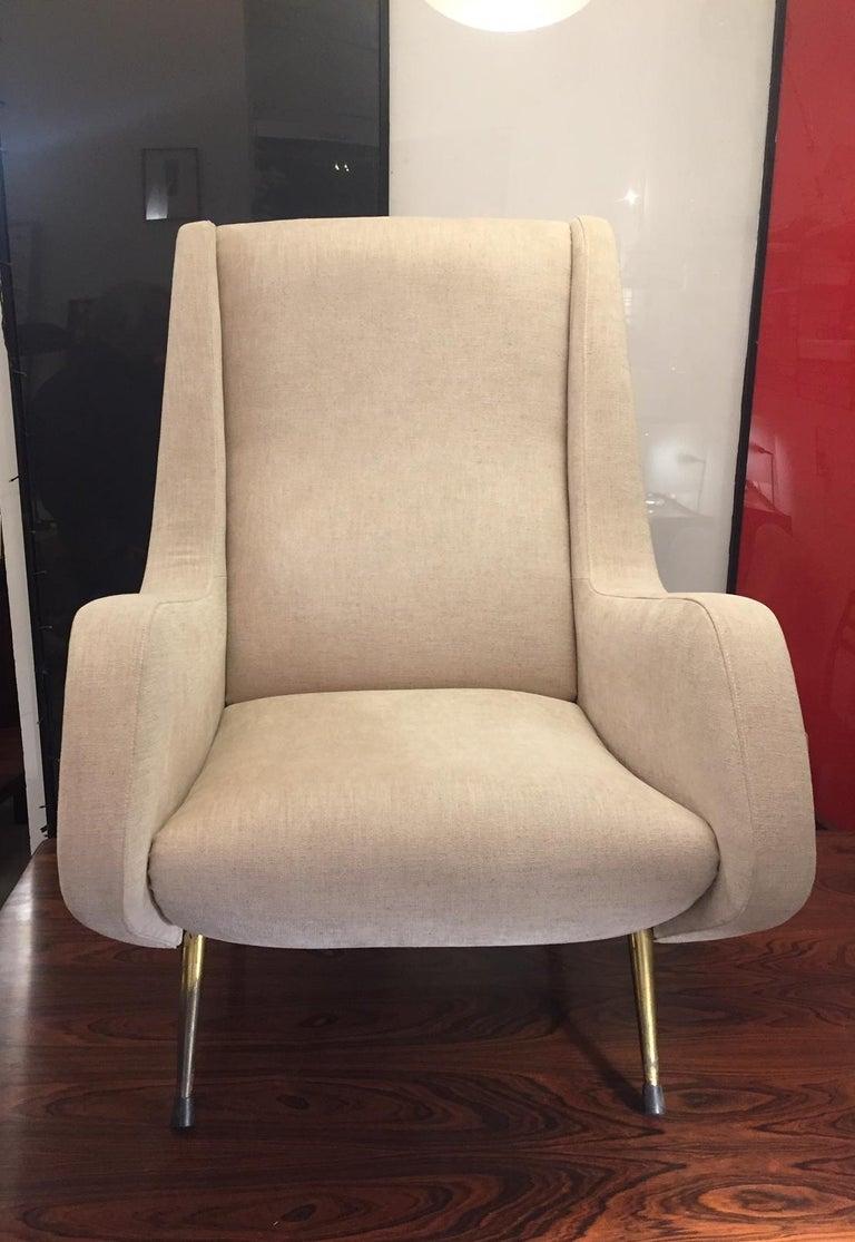 Mid-20th Century Aldo Morbelli Mid-Century Modern Pair of Light Beige Armchairs For Sale