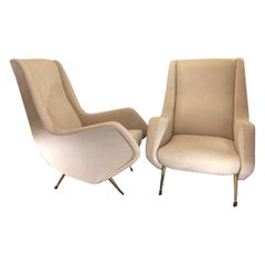 Aldo Morbelli Mid-Century Modern Pair of Light Beige Armchairs