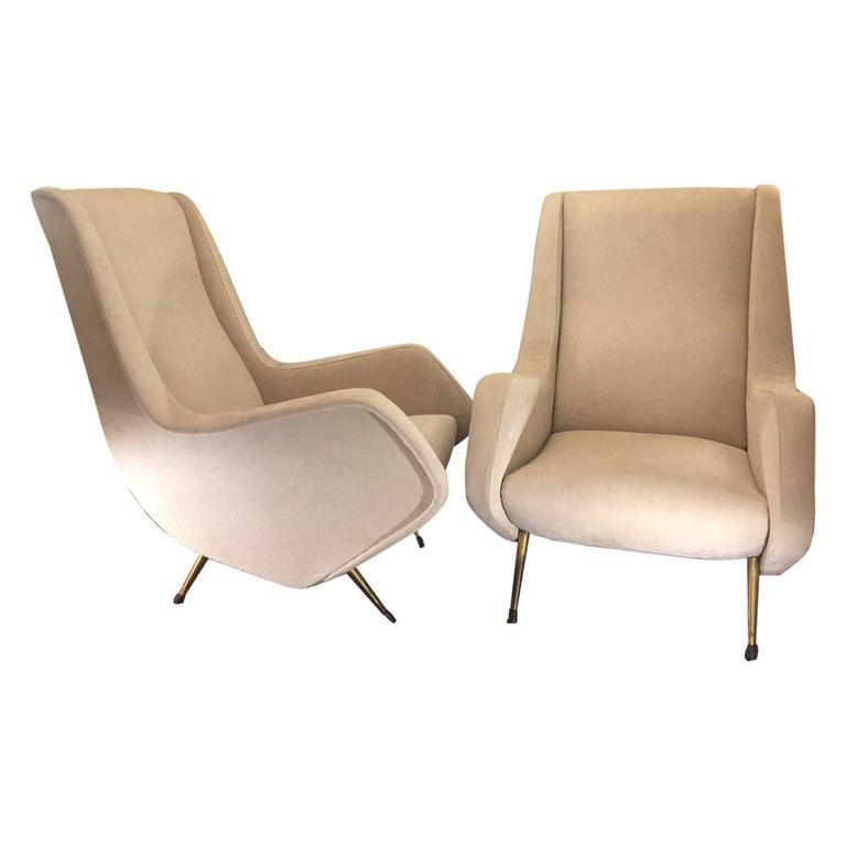 Aldo Morbelli Mid-Century Modern Pair of Light Beige Armchairs For Sale