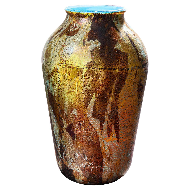 Aldo Nason Handblown Glass Vase with Gold and Silver Foil 1960s