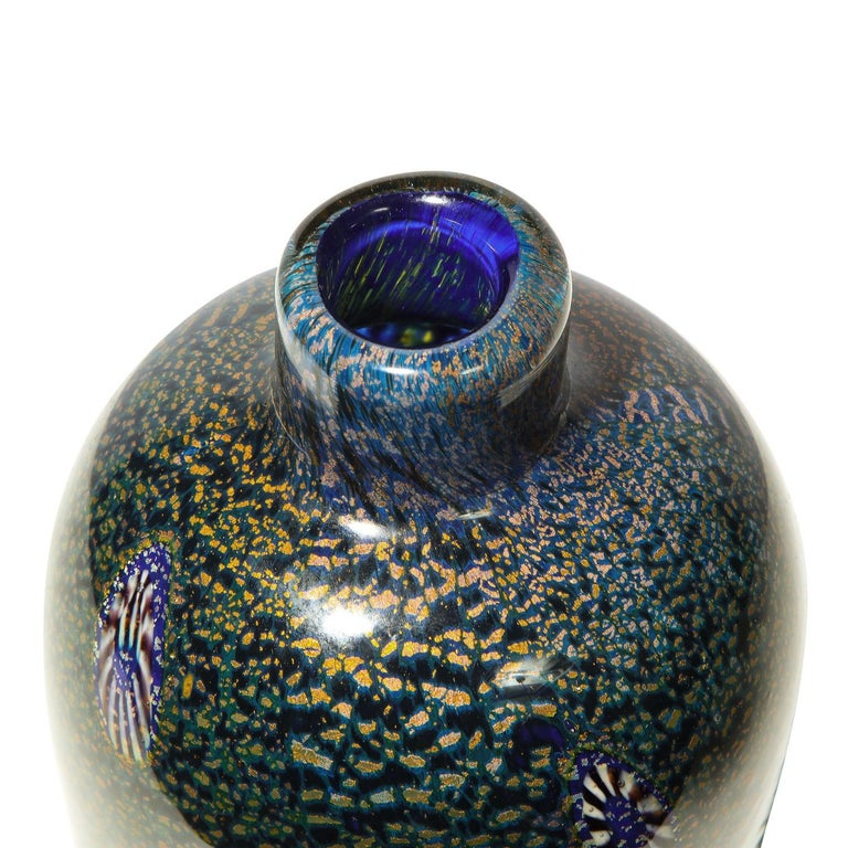 Mid-Century Modern Aldo Nason Vase with Gold Foil and Murrhines, 1960s For Sale