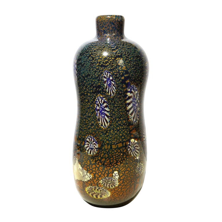 Aldo Nason Vase with Gold Foil and Murrhines, 1960s For Sale