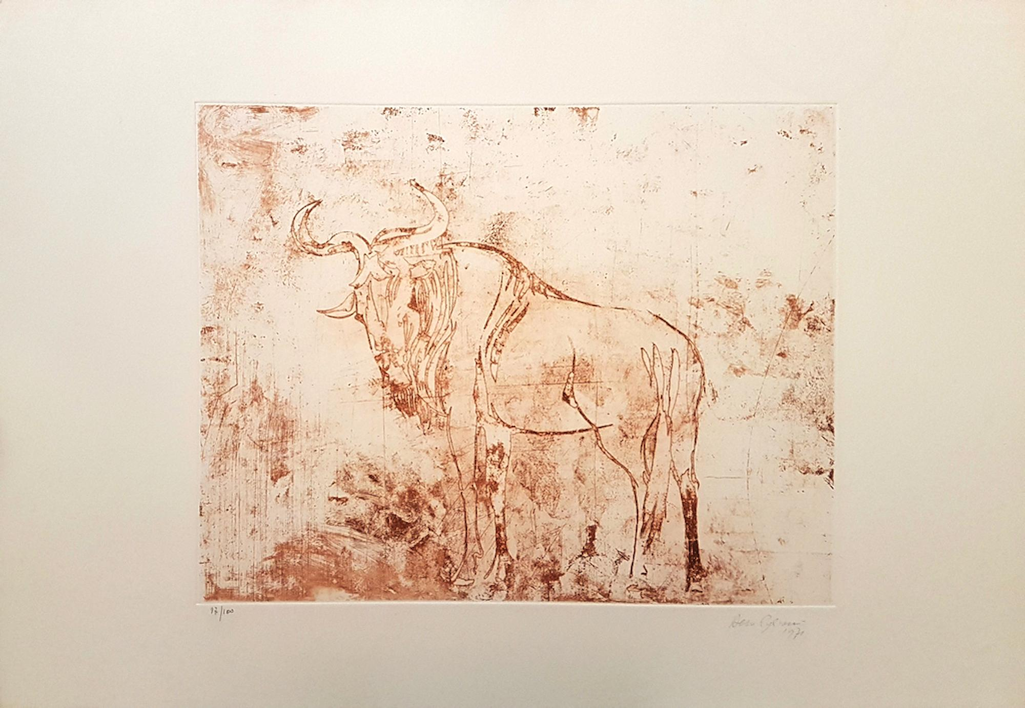 Buffalo - Original Etching by Aldo Pagliacci - 1971