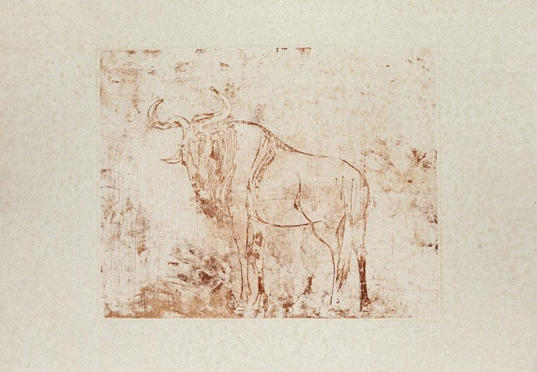 Buffalo is a wonderful brown burnt sienna ink linoleum original print on paper, realized in 1971 by the Italian master Aldo Pagliacci (1913-1991).  Hand-signed, dated and numbered in pencil on the lower margin on the sides.   Edition: 93/100.