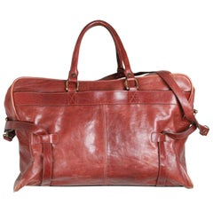 ALDO RAFFA Brown Leather DUFFLE TRAVEL BAG Carry On