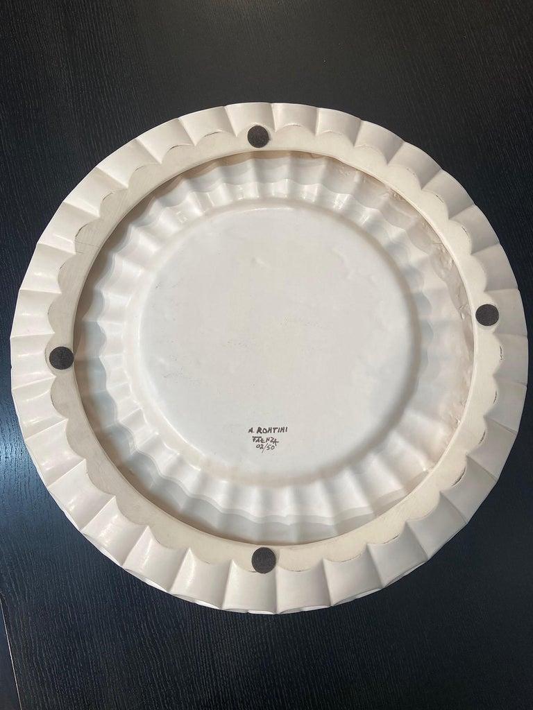 Italian Aldo Rontini, White Ceramic Tray, 2000 For Sale
