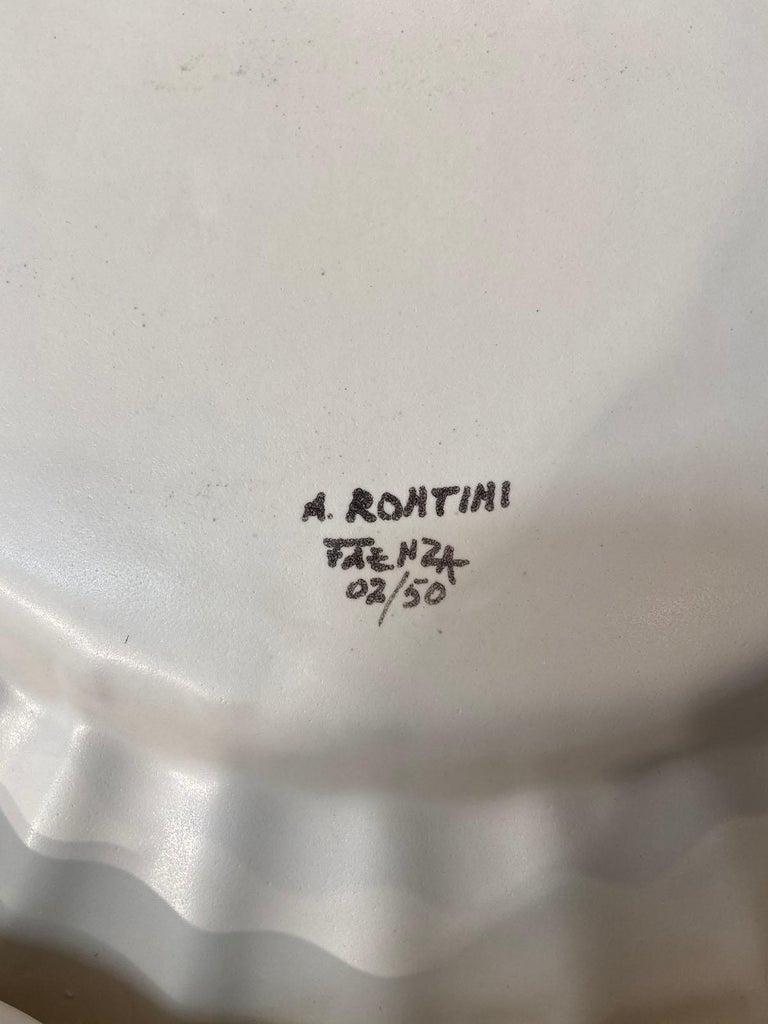 Aldo Rontini, White Ceramic Tray, 2000 In Excellent Condition For Sale In Saint ouen, FR
