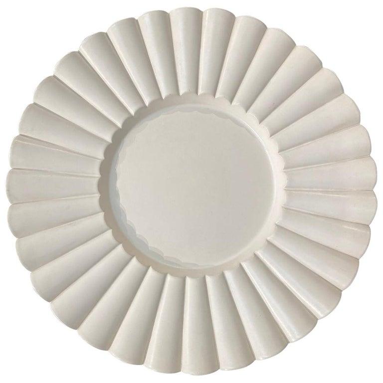 Aldo Rontini, White Ceramic Tray, 2000 For Sale