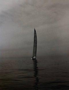 Vintage Signed Silver Gelatin Selenium Photograph Sailing Race Sailboat Photo