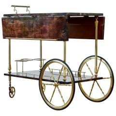 Aldo Tura 1950s Bar Cart, Tea Trolley or Drinks Stand in Brown Italian Leather